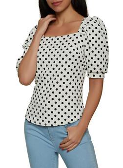 Bubble Sleeve Polka Dot Top - 8329020620372