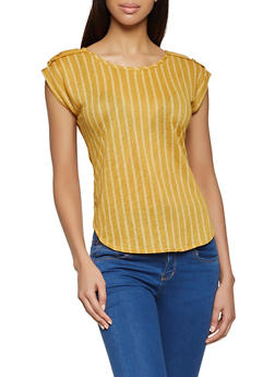 Striped Tab Shoulder Top - 8329020624620