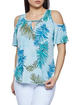 Tropical Print Cold Shoulder Top - 8329020625777