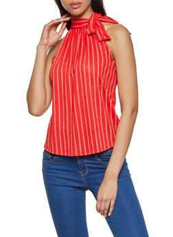 Striped Tie Detail Top - 8329020626256