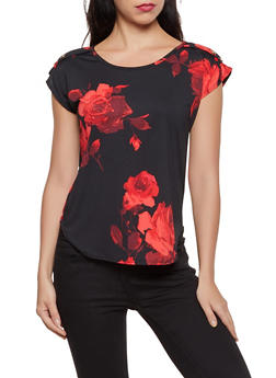 Floral Button Detail Top - 8329020628375