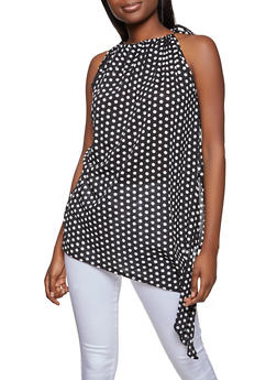 Polka Dot Asymmetrical Top - 8329020628599