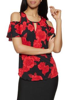 Floral Cold Shoulder Keyhole Top - 8329020628675