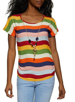 Striped Ruched Top with Necklace - 8329062702020
