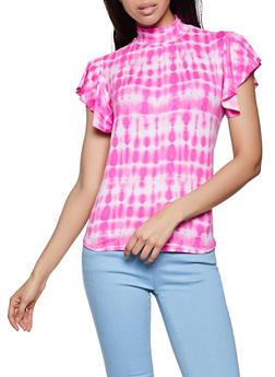Tie Dye Flutter Sleeve Top - 8329062705388