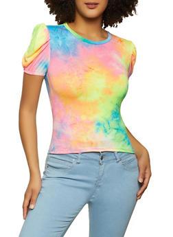 Tie Dye Puff Sleeve Top - 8329068515249