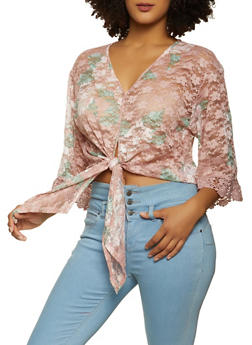 Floral Lace Tie Front Top - 8329075178030