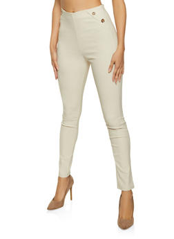 Button Detail High Waisted Jeggings - 8341020627646