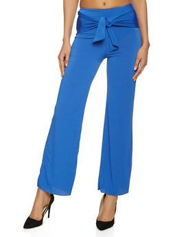 Tie Front Wide Leg Dress Pants - 8341020629067