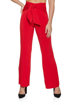 Tie Front Wide Leg Dress Pants - 8341020629067