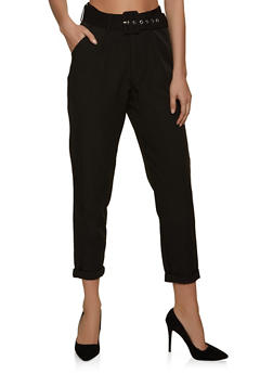 Roll Cuff Belted Dress Pants - 8341056573314