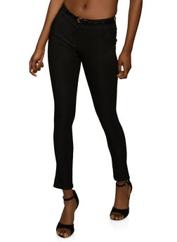 Solid Belted Dress Pants - 8341062700333