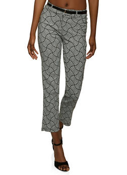 Belted Abstract Print Dress Pants - 8341062700522