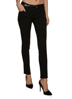 Two Button Belted Dress Pants - 8341062706607