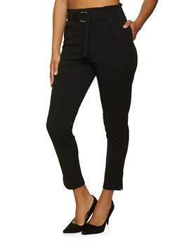 Belted Front Crepe Knit Pants - 8341062707528