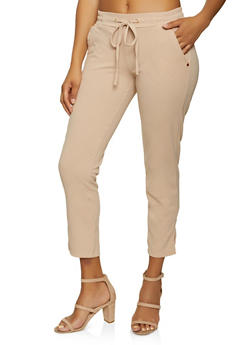Split Hem Crepe Knit Pants - 8341062707529
