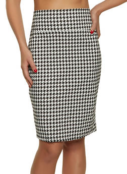 High Waisted Houndstooth Pencil Skirt - 8344020622527