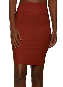 Stretch Midi Pencil Skirt - 8344020622528