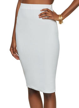 Textured Knit Midi Pencil Skirt - 8344020623975
