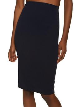 Textured Knit Midi Pencil Skirt - 8344020623975