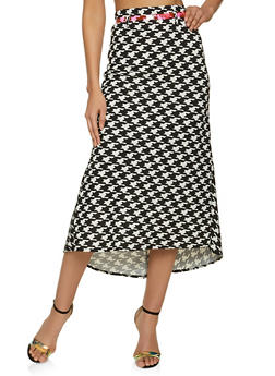 Colored Belt Houndstooth High Low Skirt - 8344020624492