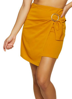 Crepe Faux Wrap Mini Skirt - 8344020624782
