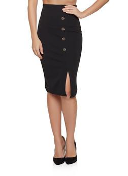 Crepe Button Detail Pencil Skirt - 8344020624905