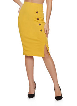 Crepe Button Detail Pencil Skirt - 8344020624905