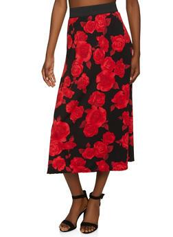 Floral Print Midi Skirt - 8344020627344