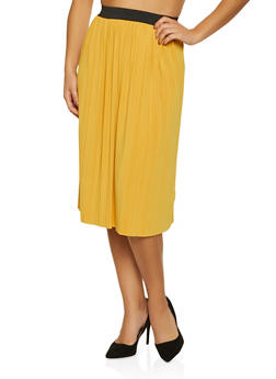 Pleated Midi Skater Skirt - 8344020627449