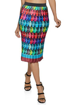 Printed Pleated Midi Skirt - 8344020629119