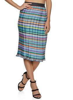 Printed Pleated Midi Skirt - 8344020629119