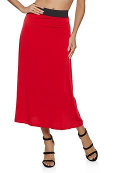 Solid Maxi Skater Skirt - 8344020629127