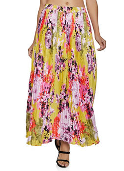 Floral Pleated Maxi Skirt - 8344056123001
