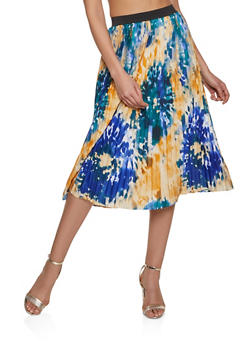 Abstract Print Pleated Skater Skirt - 8344056123003