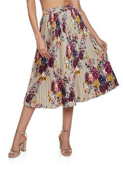Pleated Floral Midi Skater Skirt - 8344056123004