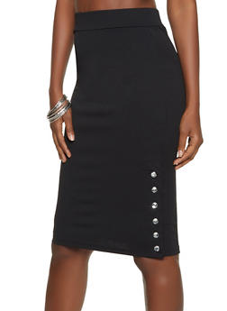 Rhinestone Button Crepe Knit Pencil Skirt - 8344062702749
