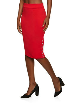 Rhinestone Button Crepe Knit Pencil Skirt - 8344062702749
