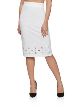 Grommet Detail Pencil Skirt - 8344062702750