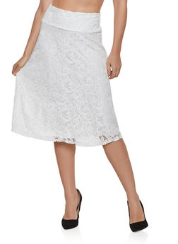 Patterned Lace Skater Skirt - 8344062702755