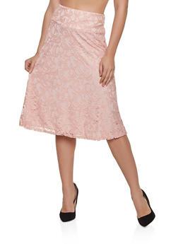 Patterned Lace Skater Skirt - 8344062702755