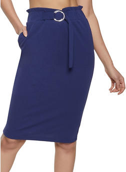 Belted Front Pencil Skirt - 8344062702789