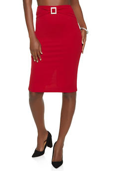 Rhinestone Buckle Detail Pencil Skirt - 8344062705732