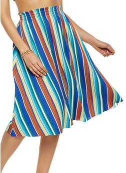 Striped Pleated Skater Skirt - 8344062707777