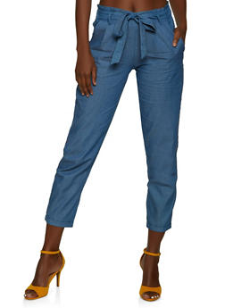 Tie Waist Chambray Pants - 8348062707165