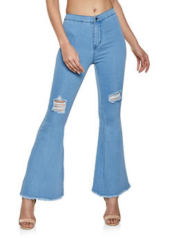 Ripped Knee Flared Jeans - 8348064720680