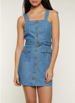 D Ring Belted Denim Dress - 8375015050302