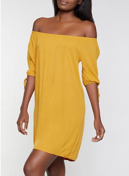 Off the Shoulder Gauze Knit Dress - 8375020627522