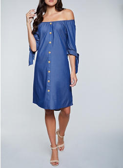 Button Off the Shoulder Chambray Dress - 8375056128062