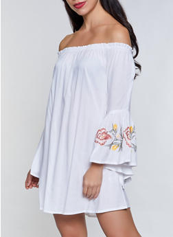 Embroidered Bell Sleeve Off the Shoulder Dress - 8375061638193
